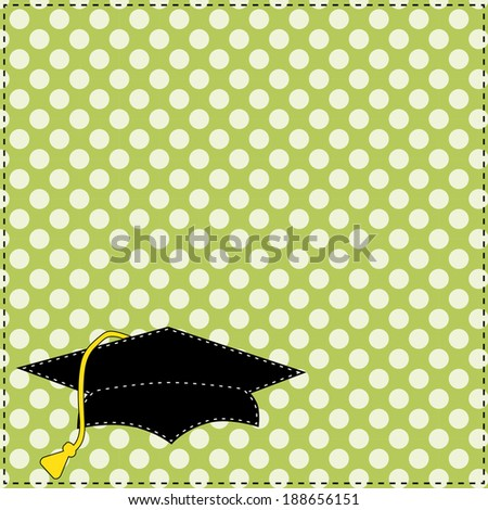 Black graduation cap with white stitching on polka dot background, scrapbooking layout, vector format
