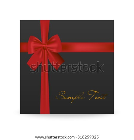 Black greeting card with red bow isolated on white. Vector EPS10 illustration.   - stock vector