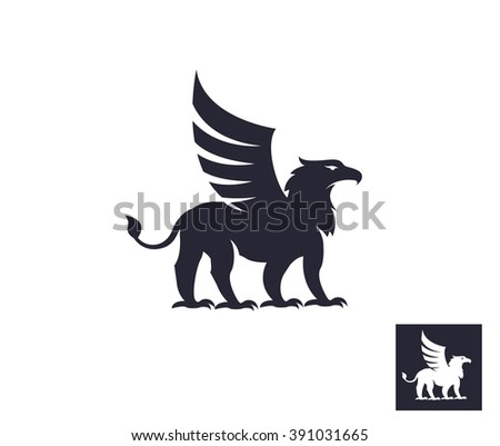 Black griffin - stock vector