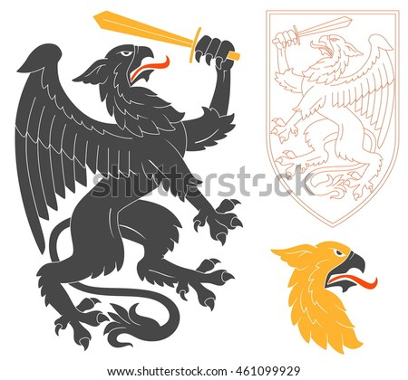 Black Griffin Illustration For Heraldry Or Tattoo Design Isolated On White Background. Heraldic Symbols And Elements