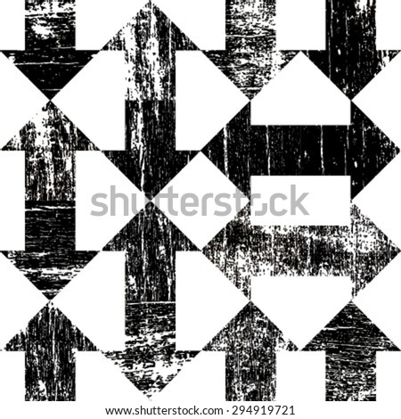 black grunge arrows on white seamless pattern - stock vector