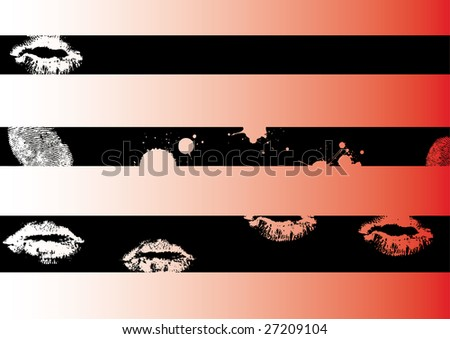 Black grunge artistic strips 3 (Transparent vectors so it can be overlaid onto other graphics and images) - stock vector