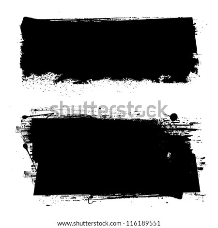 Black grunge banners. Vector illustration. - stock vector