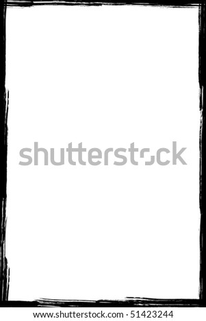 Black grunge frame isolated on white background - stock vector