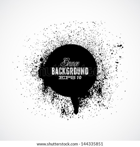 Black grunge ink splat shapes with circle - stock vector