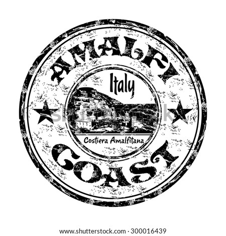 Black grunge rubber stamp with the name of Amalfi Coast from Italy written inside the stamp