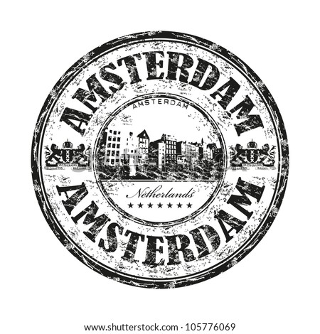Black grunge rubber stamp with the name of Amsterdam the capital of Netherlands written inside the stamp - stock vector