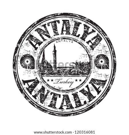 Black grunge rubber stamp with the name of Antalya city from Turkey