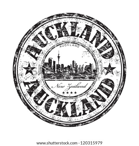 Black grunge rubber stamp with the name of Auckland city from New Zealand written inside the stamp - stock vector