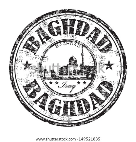 Black grunge rubber stamp with the name of Baghdad city the capital of Iraq written inside the stamp