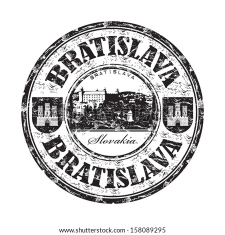 Black grunge rubber stamp with the name of Bratislava city, the capital of Slovakia