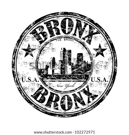 Black grunge rubber stamp with the name of Bronx borough from New York written inside the stamp - stock vector