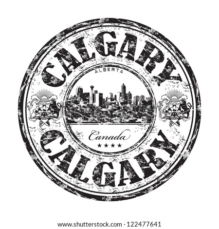 Black grunge rubber stamp with the name of Calgary city from Canada written inside the stamp