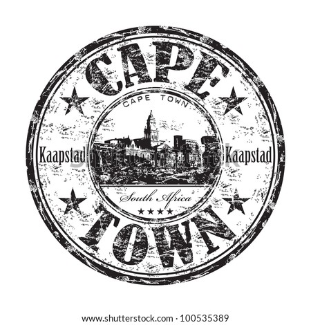Black grunge rubber stamp with the name of Cape Town, a city from South Africa written inside the stamp