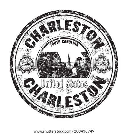 Black grunge rubber stamp with the name of Charleston city from United States of America
