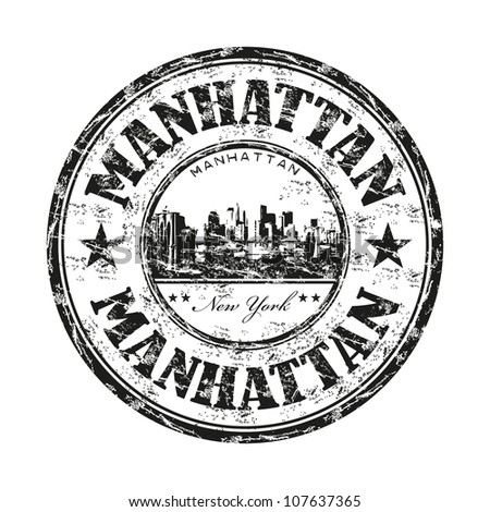 Black grunge rubber stamp with the name of Manhattan borough from New York City written inside the stamp