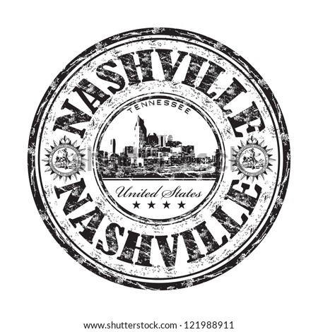 Black grunge rubber stamp with the name of Nashville city from the state of Tennessee in United States of America