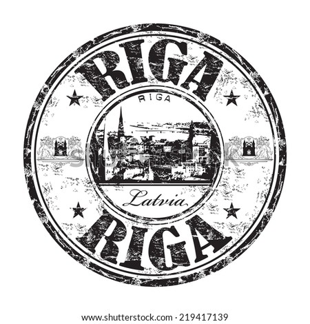 Black grunge rubber stamp with the name of Riga city, the capital of Latvia