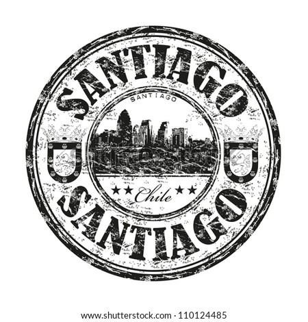 Black grunge rubber stamp with the name of Santiago, the capital of Chile written inside the stamp