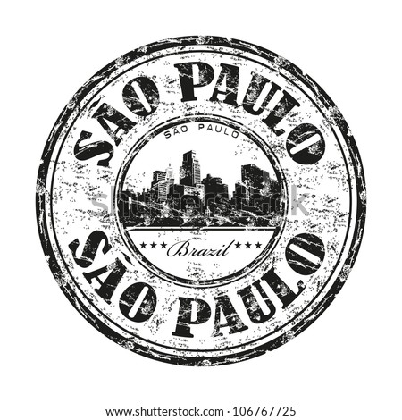 Black grunge rubber stamp with the name of Sao Paulo the largest city in Brazil - stock vector