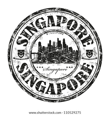 Black grunge rubber stamp with the name of Singapore city state written inside the stamp - stock vector