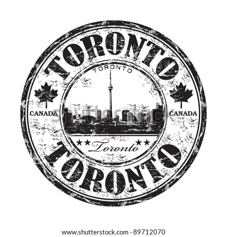 Black grunge rubber stamp with the name of Toronto the capital of Ontario in Canada written inside the stamp