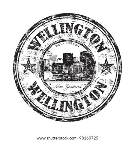 Black grunge rubber stamp with the name of Wellington the capital city of New Zealand written inside the stamp