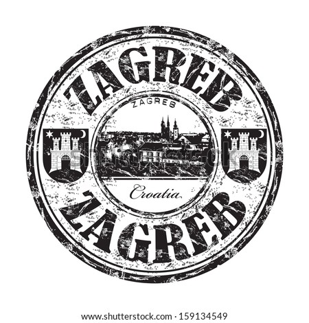 Black grunge rubber stamp with the name of Zagreb city, the capital of Croatia