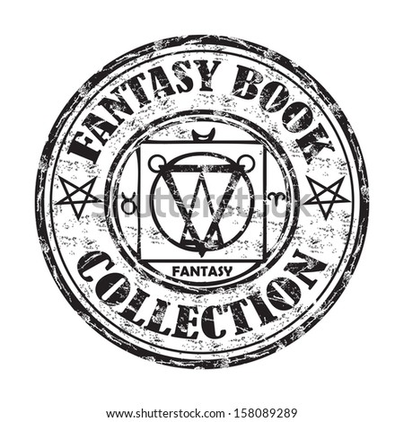 Black grunge rubber stamp with the text fantasy book collection written inside the stamp - stock vector