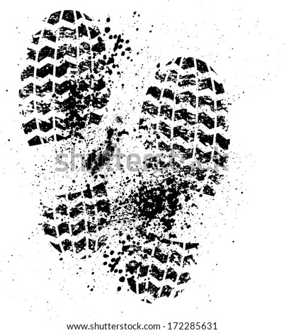 Black grunge shoes print isolates on white. eps10 - stock vector