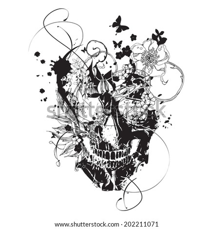 Black grunge vector skull  with flowers - stock vector