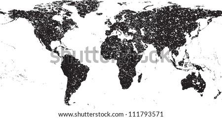 Black grunge world map - stock vector