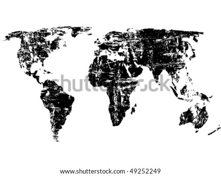 Black grunge world map on a white background. Vector illustration. - stock vector