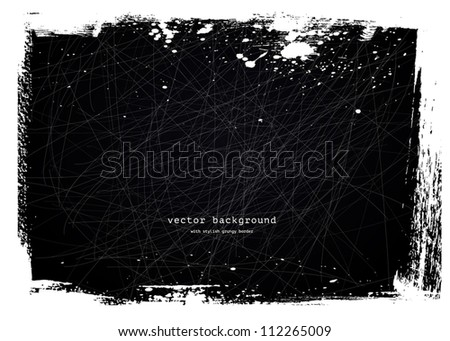 Black grungy scratched vintage background - stock vector
