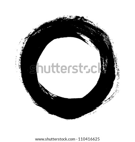 Black grungy vector abstract hand-painted circle - stock vector