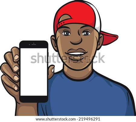 black guy in cap showing a mobile app on a smart phone - stock vector