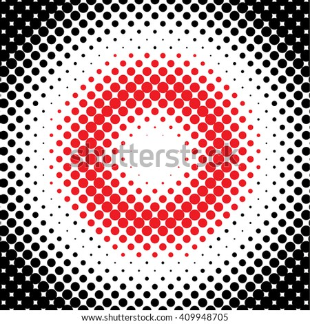 Black halftone pattern with red center ring. Vector illustration - stock vector