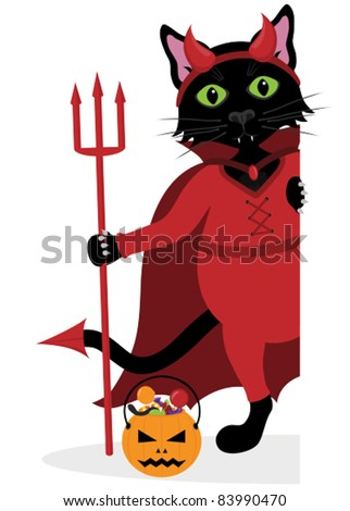 Black Halloween cat dressed as a Devil peeping around the side. Grouped to go on the side of a sign or rectangular shape. - stock vector