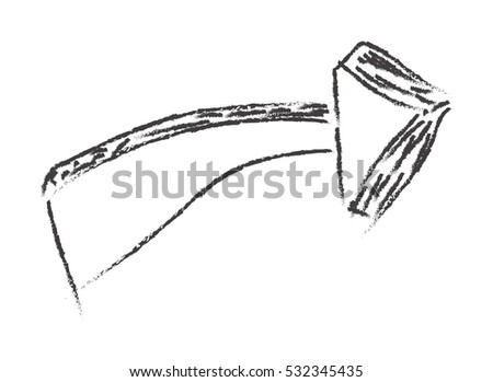 Black hand draw arrow, isolated on white. Vector illustration.