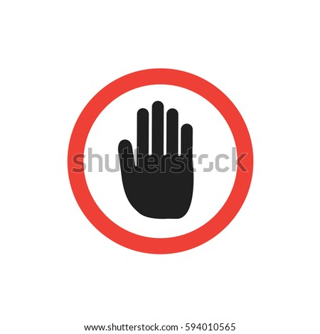Black hand icon. Stop sign vector illustration on white background.