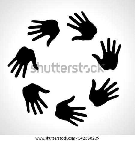 Black Hand Print icon, vector illustration - stock vector