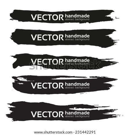 Black handdrawn realistic long strokes banners 2 - stock vector