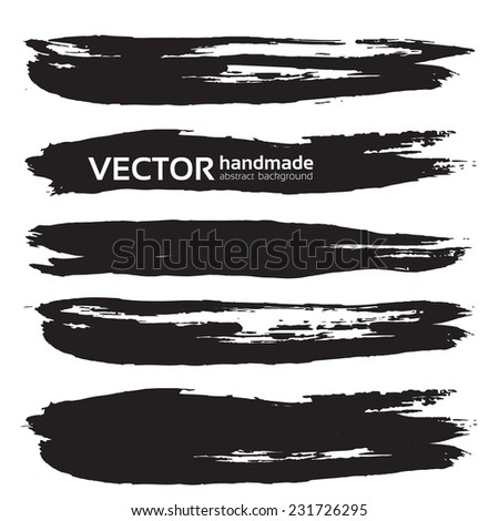 Black handdrawn realistic long strokes banners - stock vector