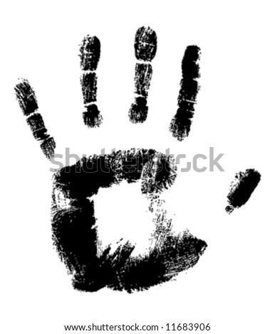 Black Handprint on White fully editable vector illustration - stock vector