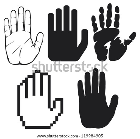 black hands (black print of a hand, hand print, hand print shape, stop hand silhouette ) - stock vector