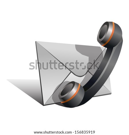 "Black Handset and envelope symbol isolated on white background. Stylized icon of ""Contact us"" page. Vector illustration - stock vector"