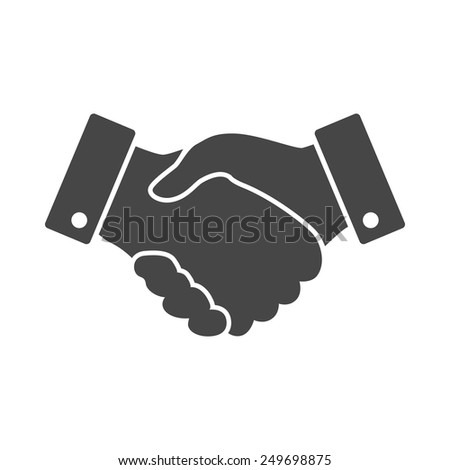 black Handshake vector icon. design for business and finance concept - stock vector