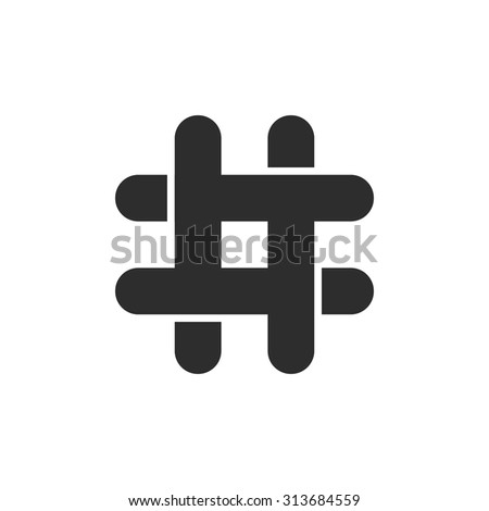 black hashtag icon with cut ends. concept of social media, micro blogging, pr, popularity, blogger, grille. isolated on transparent background. flat style trend modern logotype design vector illustration - stock vector