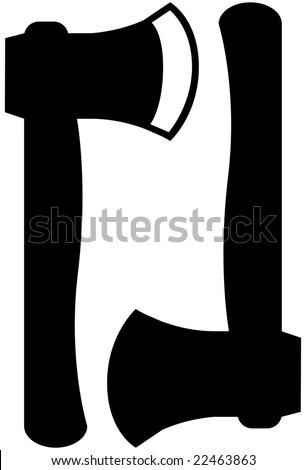black hatchet icon set - stock vector