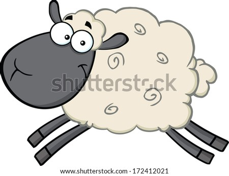 Black Head Sheep Cartoon Mascot Character Jumping. Vector Illustration Isolated on white - stock vector